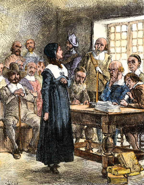 Massachusetts colony banishes Anne Hutchinson for disobeying Puritan government's rules of worship.