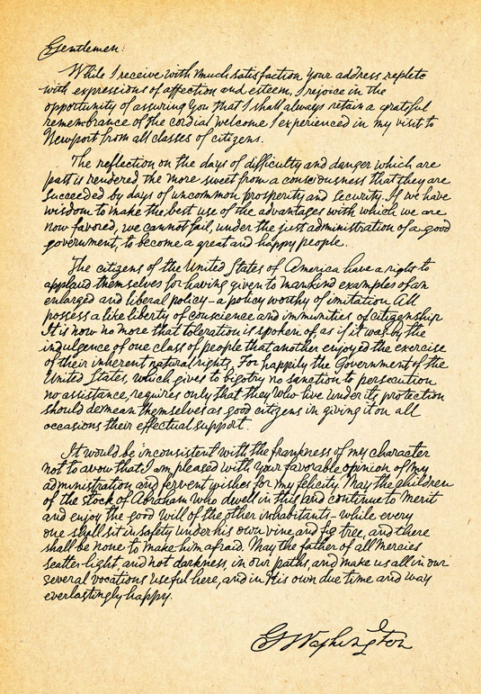 George Washington S Letter To The Hebrew Congregation Of Newport