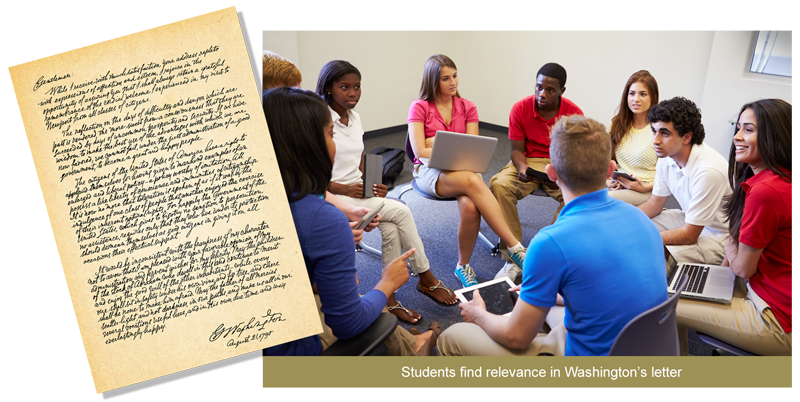 Students discussing George Washingtons letter
