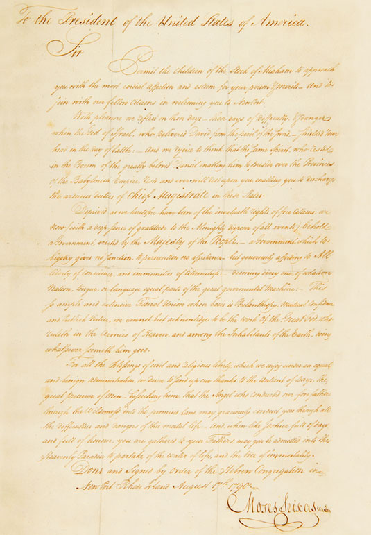 Moses Seixas' Letter - Archival Image